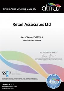 Retail Associates awarded approved Altius CDM vendor status